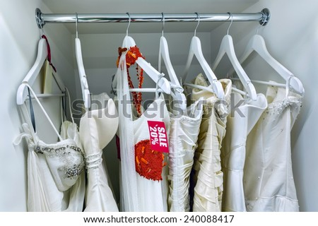 Sale collection of wedding dresses in the shop at discount