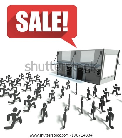 Sale concept, crowd of people running for shopping - stock photo
