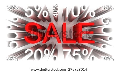 Sale concept, 3D red text with percents.