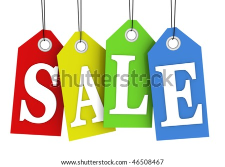 Sale concept, formed of colorful tags; great for shopping, sales, advertising, discounts and promotion
