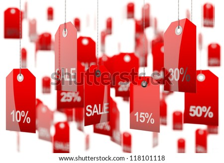 Sale concept, formed of red tags; great for shopping, sales, advertising, discounts and promotion.