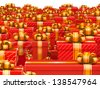 Sale concept - hundreds gift boxes on red background - stock photo