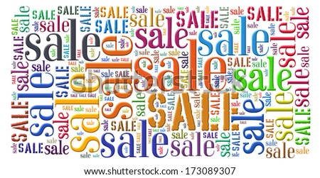 Sale concept  in a colorful  word cloud