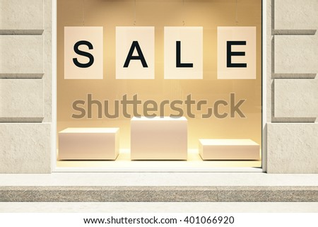 Sale concept showcase exterior with empty stands. Mock up, 3D Rendering - stock photo