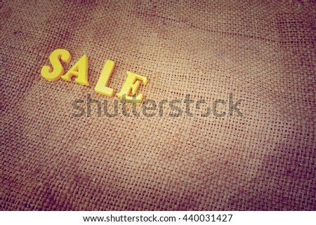 Sale concept. Yellow letters on background