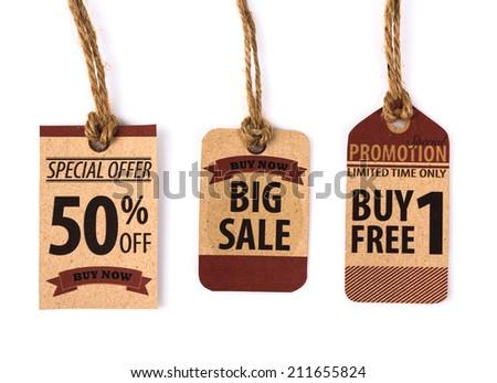 Sale Coupon, voucher, tag. Vintage Style - stock photo