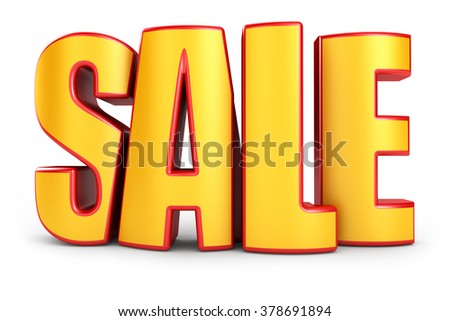 Sale 3d text isolated over white background - stock photo