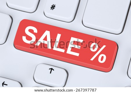 Sale discount online shopping e-commerce internet shop concept on computer keyboard