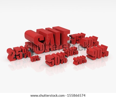 Sale discount set with percents and volume 3D font on white background - stock photo