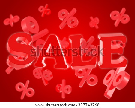 Sale discounts on red background - stock photo