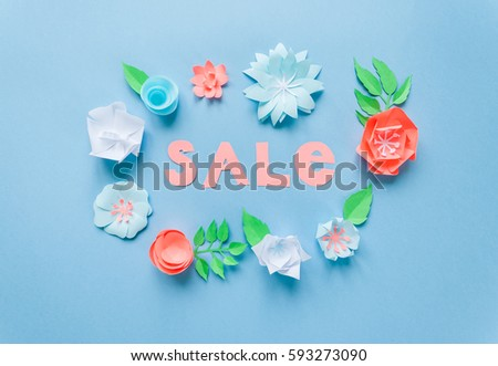 Sale frame color paper flowers on stock photo royalty free sale frame with color paper flowers on the blue background flat lay nature concept mightylinksfo