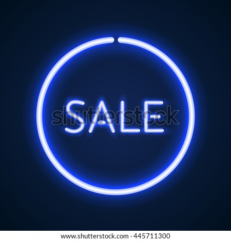 Sale glowing neon sign. Light background for your advertise, discounts and business