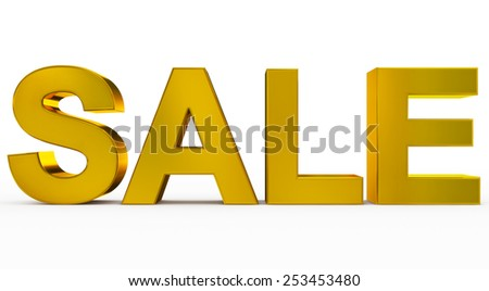 SALE golden - 3d letters isolated on white, front view - stock photo
