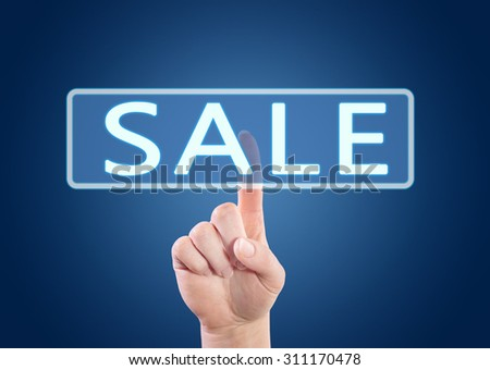 Sale - hand pressing button on interface with blue background.