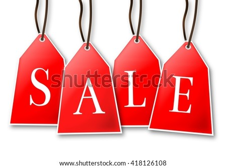 SALE - hanging labels, tags, badges on white background.