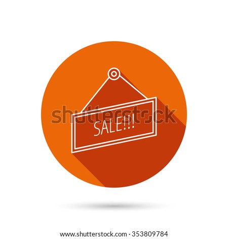 Sale icon. Advertising banner tag sign. Round orange web button with shadow. - stock photo