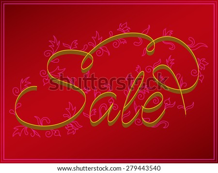 Sale.Inscription hand letters with swirls in the style of Kvilling. - stock photo