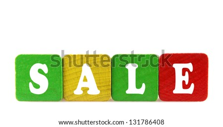 sale - isolated text in wooden building blocks - stock photo