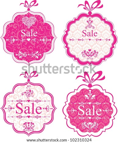 Sale Labels. Design element isolated on White background. Illustration - stock photo