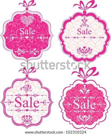 Sale Labels. Design element isolated on White background. Illustration - stock photo