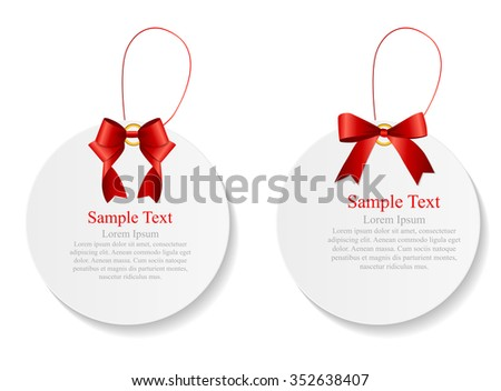 Sale Labels Set with Red Bow and Ribbon . Illustration