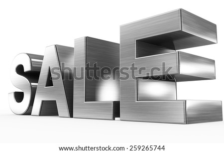 SALE metal - 3d letters isolated on white, side view - stock photo