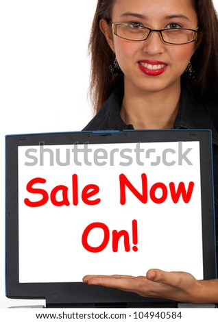 Sale Now On Online Message Showing Internet Bargains - stock photo