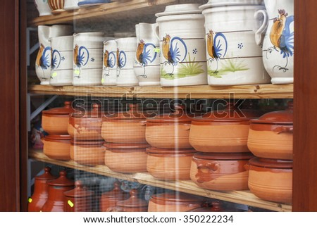 Sale of ceramic vases, plates, and glasses that are typical of gargano, Puglia, Italy.
