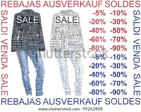 Sale of Clothes. Coat and Jeans Words of Sales made on different languages.  Group of isolated clothes on white background with cutout words on it. - stock photo