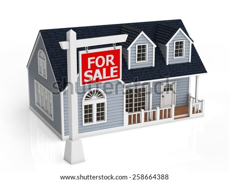 Sale of house. The sign of sale in front of the house. - stock photo