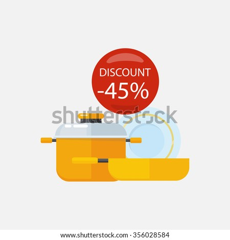 Sale of household appliances with red bubble discount percentage. Sale badge label. Home appliances in flat style. Plate, dishes set, dirty dishes, bowl, kitchen.