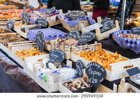 Sale of mushrooms in the Dutch market - stock photo
