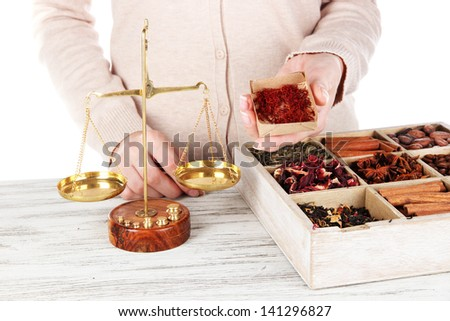 Sale of tea and different spices