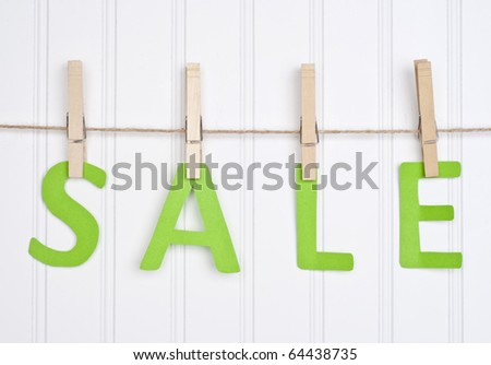 SALE on a Clothesline.  Holiday Concept. - stock photo