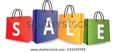 Sale on Shopping Bags bitmap copy - stock photo