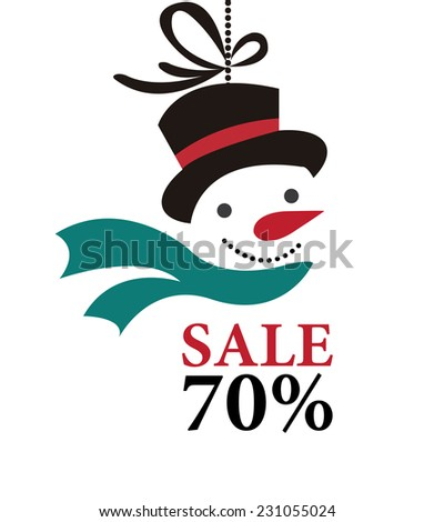 Sale 70% on Snowman Hanging Tag or Icon Isolated on White Background