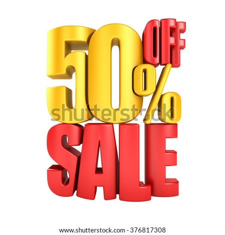 Sale 50 percent off in red letters 3d render on a white background. - stock photo