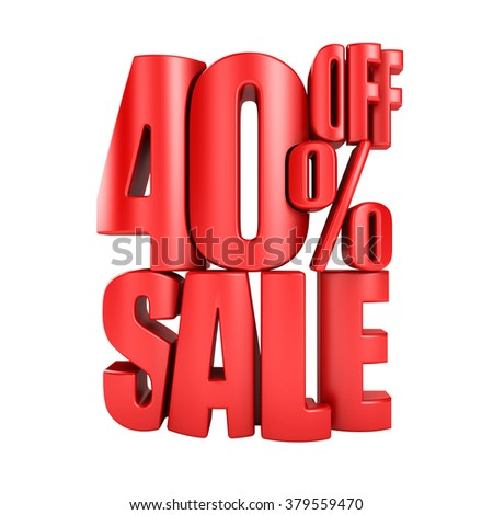 Sale 40 percent off in red letters 3d render on a white background. - stock photo