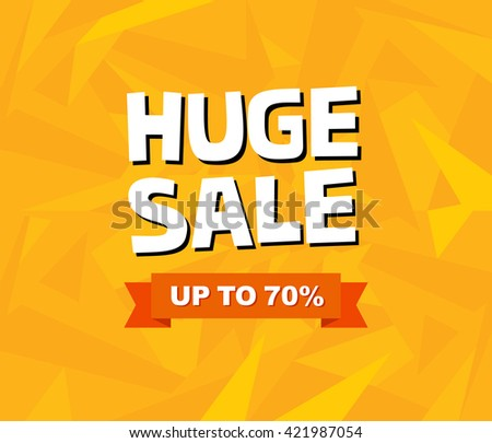 Sale poster design with yellow geometric background