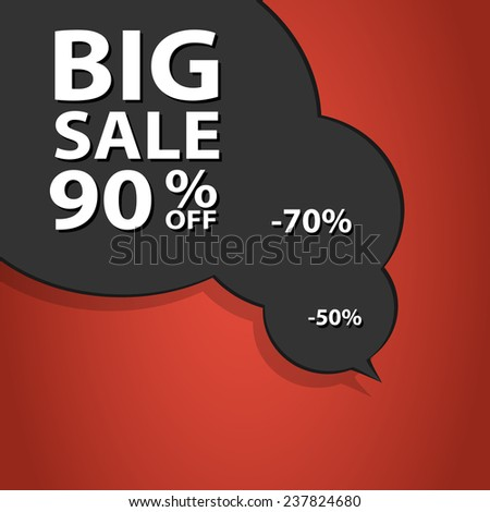 Sale poster speech bubble with percent discount. Christmas sales. Holiday sales. - stock photo