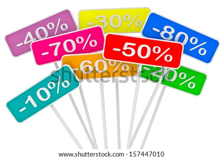sale poster with percent discount on a white background