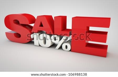Sale - price reduction of 10% - stock photo