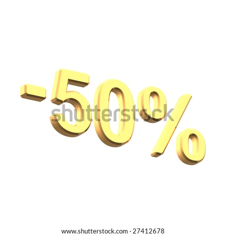Sale price tag from gold set. Computer generated 3D photo rendering