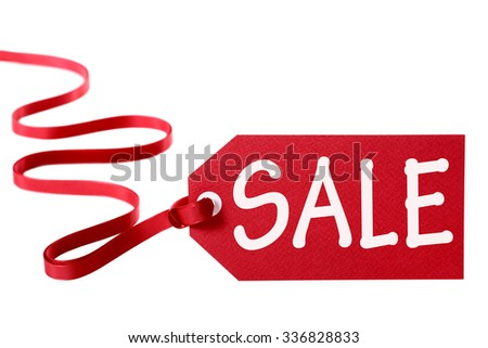 Sale price tag or label, long curly red ribbon