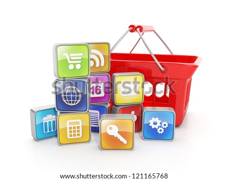 Sale purchase of software for mobile devices - stock photo