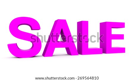 SALE - purple 3d letters isolated on white, side view - stock photo