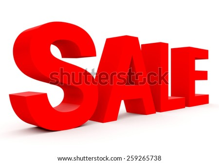 SALE - red 3d letters isolated on white, side view - stock photo