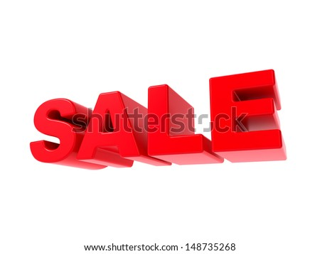 Sale - Red 3D Text. Isolated on White Background.