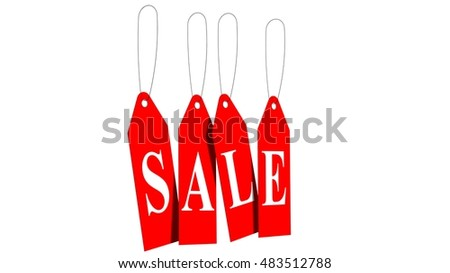 sale - red hanging sale labels isolated on white - 3d rendering
