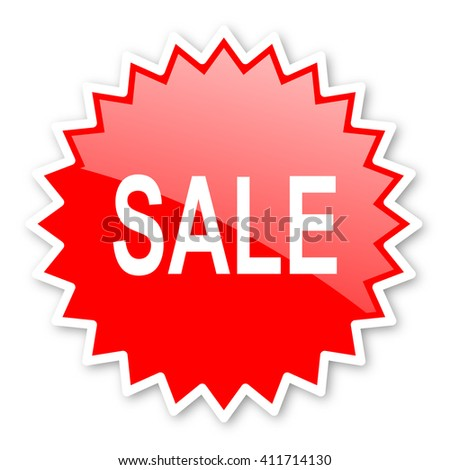 sale red tag, sticker, label, star, stamp, banner, advertising, badge, emblem, web icon - stock photo
